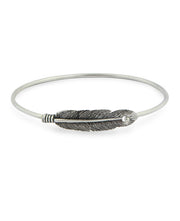 Sterling Silver Feather Bangle Bracelet, Thailand