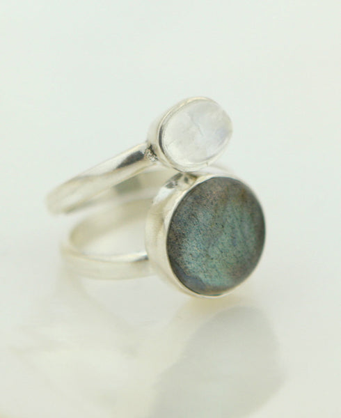 Moonstone Labradorite Stack Ring