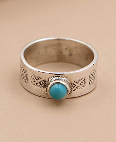 Etched Turquoise Ring