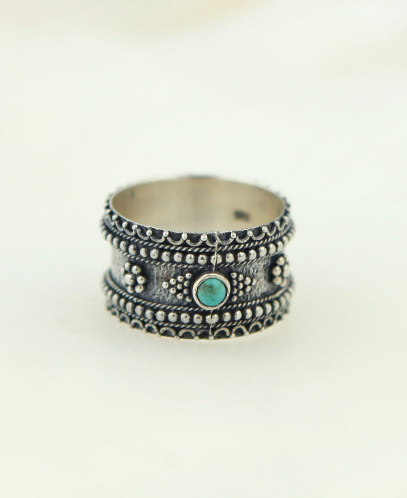 Temple Corridor Sterling Silver and Turquoise Ring