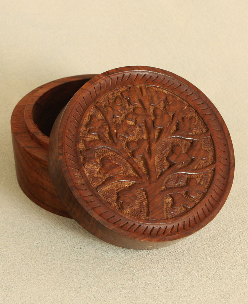 Tree of Life Wood Tali Box, India