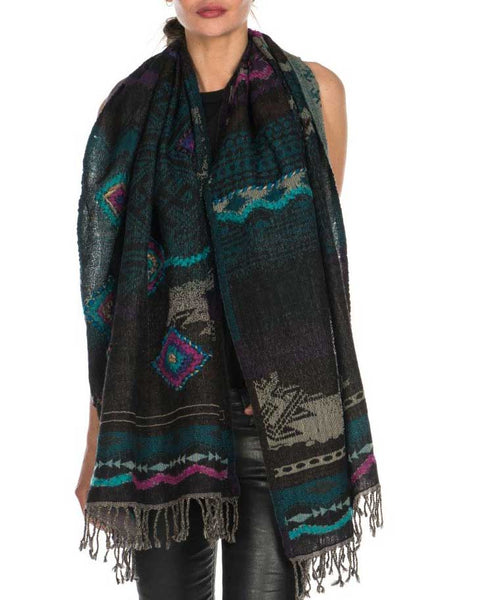Premium Wool Tribal Shawl with Diamond Pattern