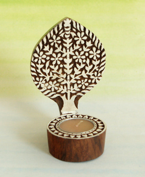 Aashiyana Tree Wooden Tealight Candleholder