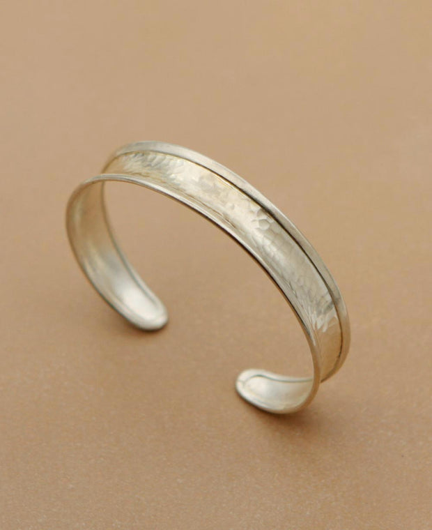 Hill Tribe Silver Textured Cuff Bracelet