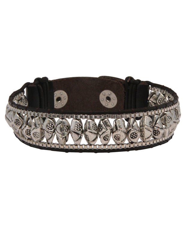 Hill Tribe Style Leather Snap Bracelet, Multiple Designs