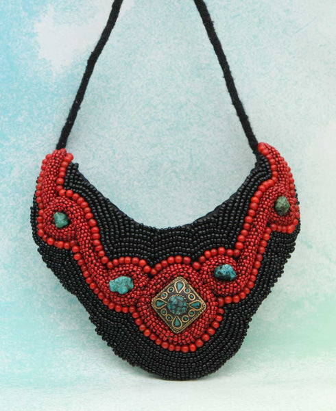 Fiery Night Beaded Choker Tribal Bib Necklace