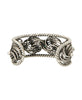 Turkish Tribal Pewter Cuff Bracelet with Stone Inlays