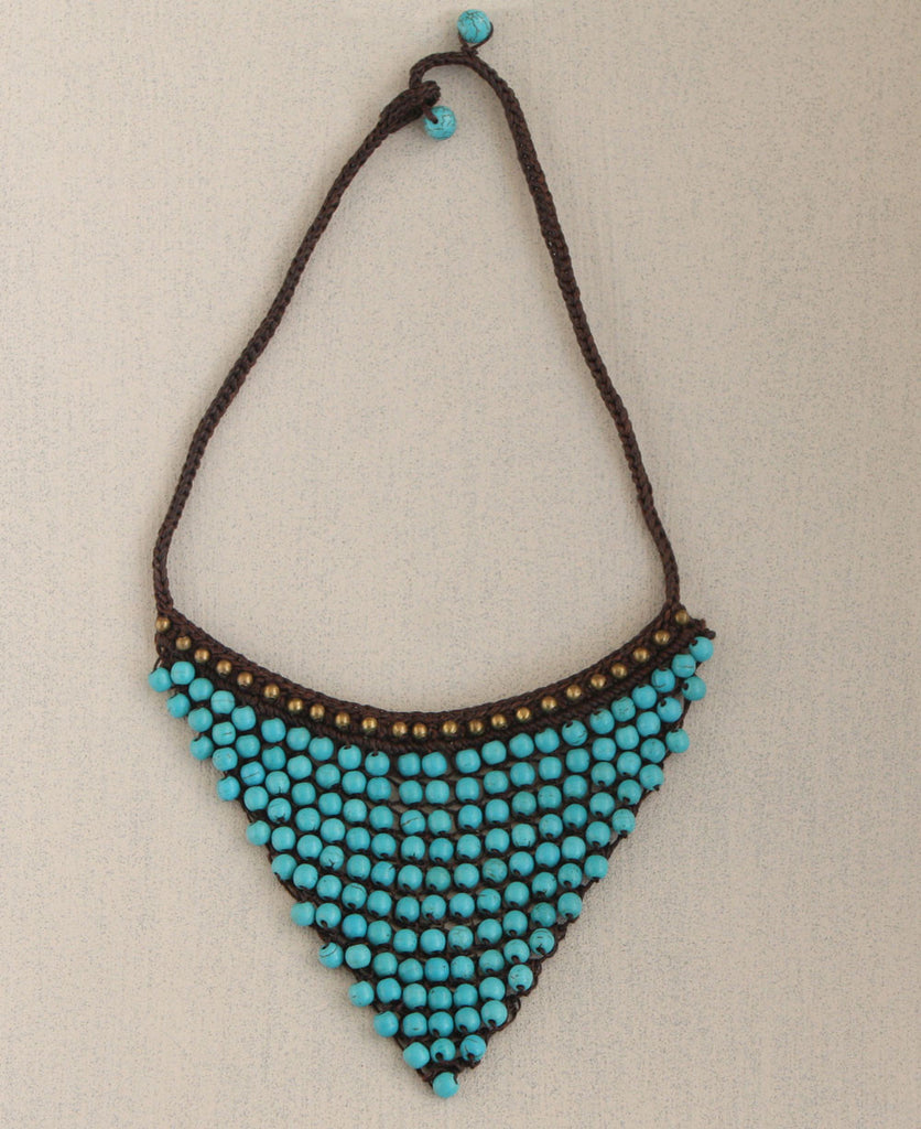 Turquoise Bead Triangle Necklace, Nepal