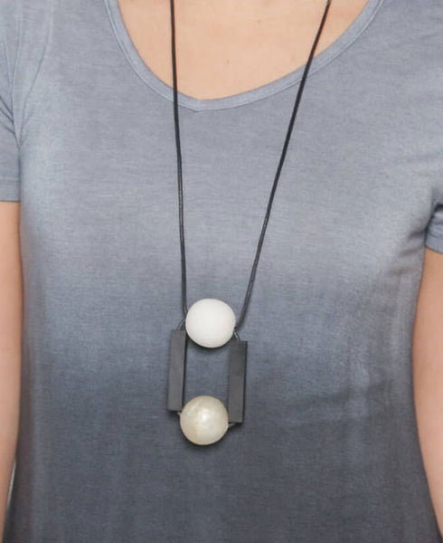 Wood Bead and Block Necklace
