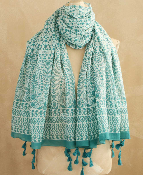 Printed Mint Scarf