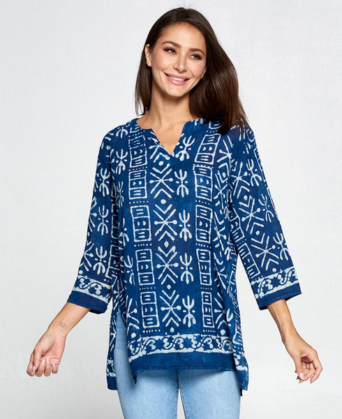 Mud-Cloth Inspired Blue Print Cotton Voile Tunic, India