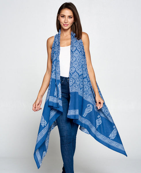 Indigo Blue Print Cotton Shrug Wrap