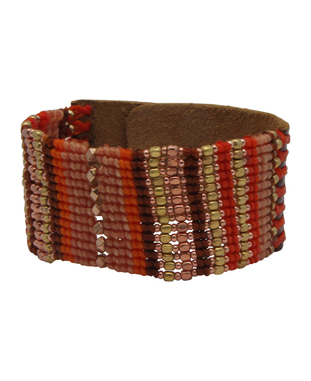 Beaded Leather Snap Bracelet