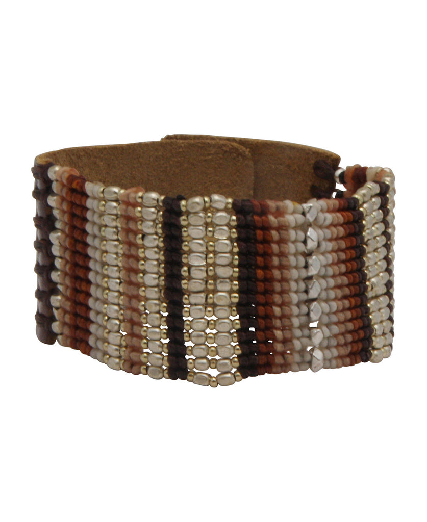 Weaver's Loom Beaded Leather Snap Bracelet