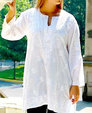 Indian Embroidered Floral Cotton Tunic, Multiple Colors