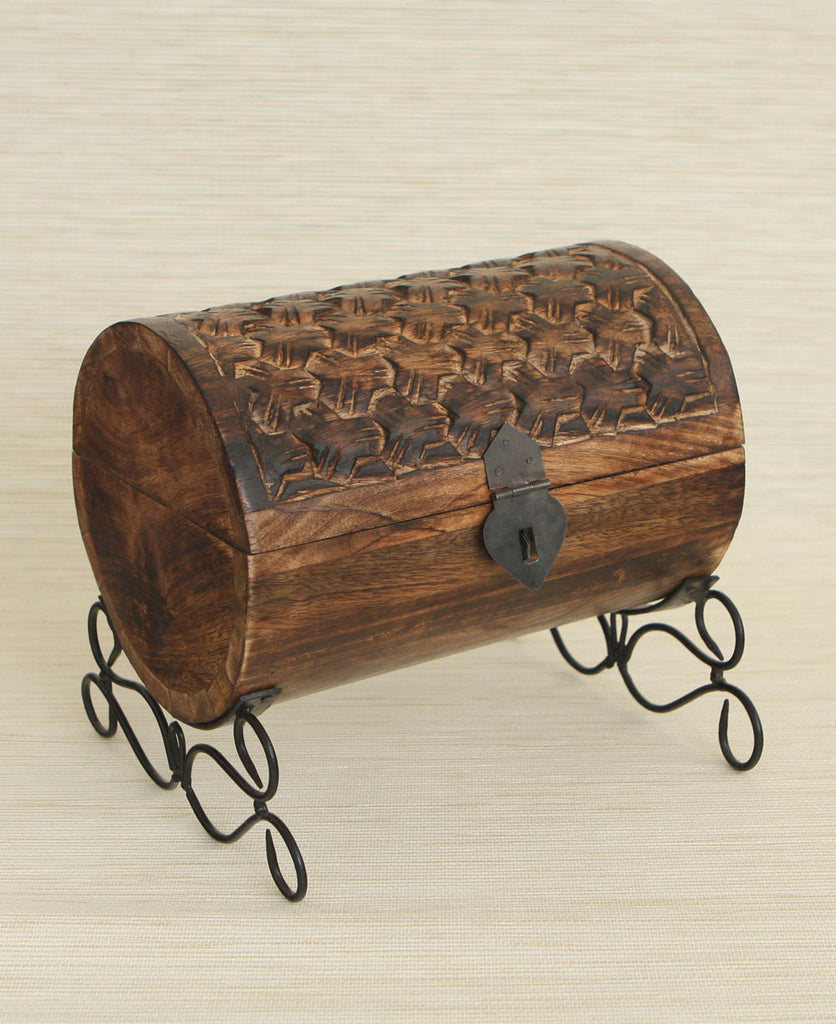 Geometric Wooden Barrel Jewelry Box, India