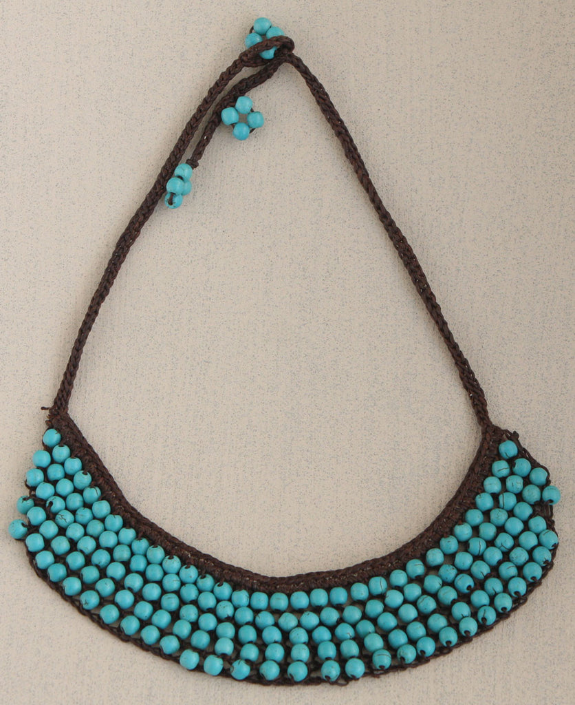 Woven Turquoise Bead Necklace, Handmade