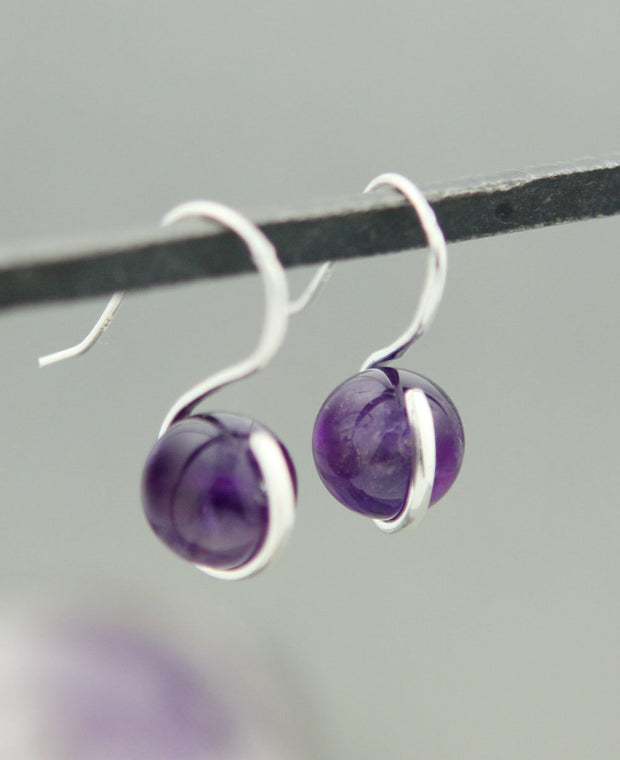 Amethyst Orb Earrings