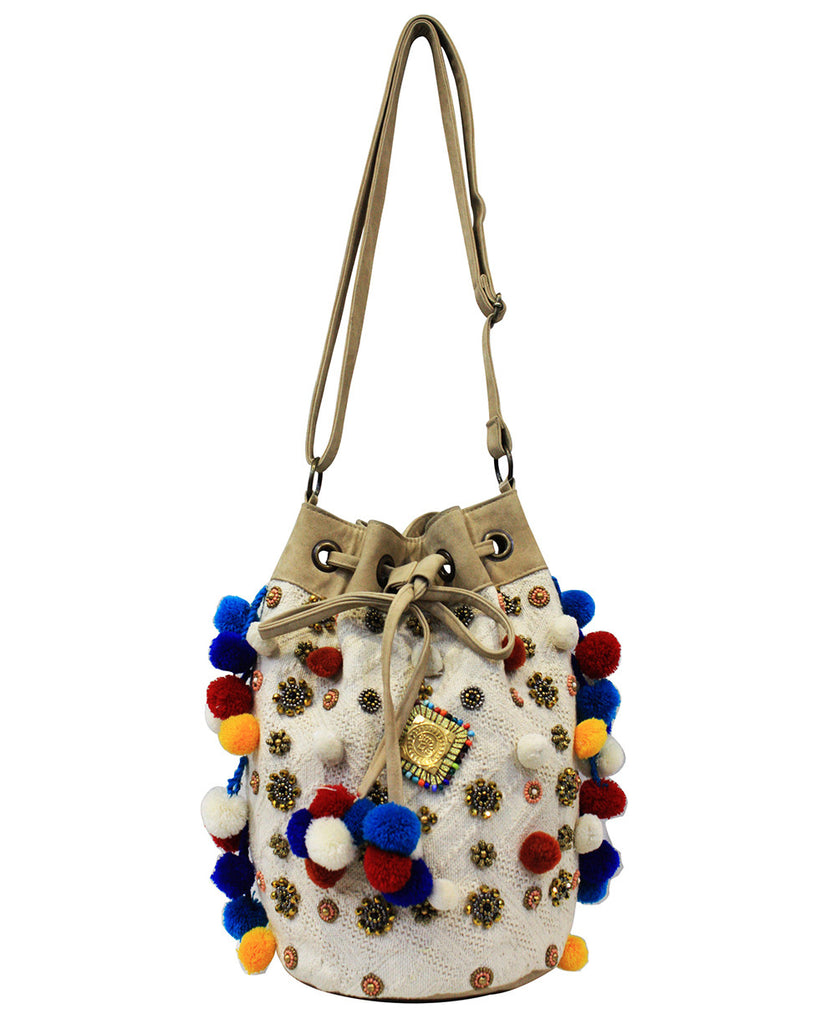 Beaded Indian Floral Pom-Pom Bag