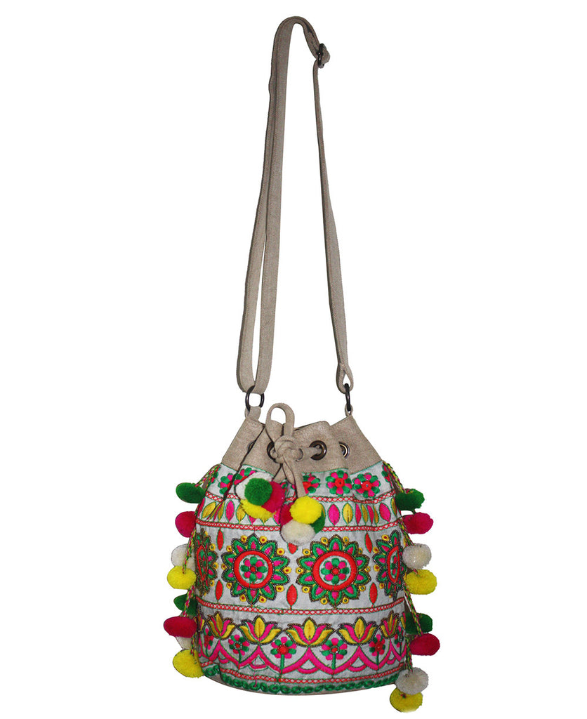 Indian Embroidered Floral Bucket Bag