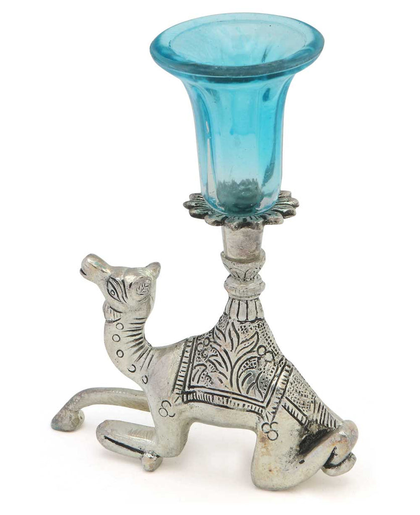 Indian Home Decor: Camel Taper Candle Holder, Blue