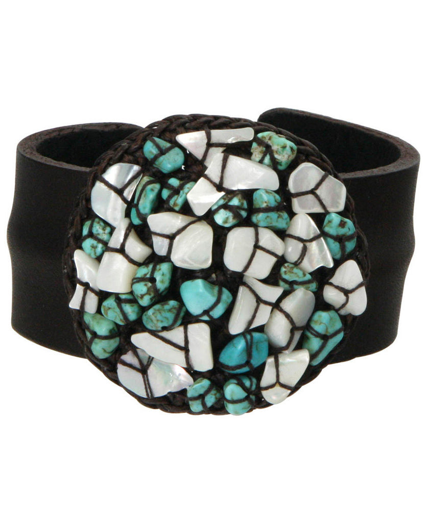Sea Foam Shell and Turquoise Cuff Bracelet