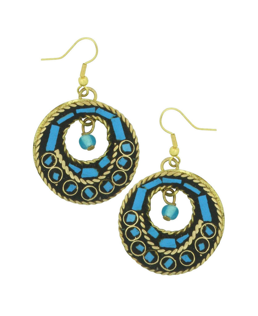 Turquoise Folktale Mosaic Earrings, India