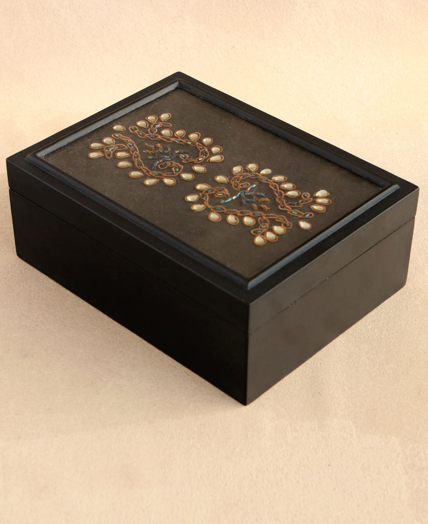 Ornate Kundan and Zardozi Work on Brocade Wood Keepsake Box
