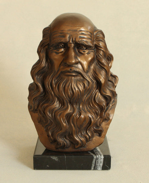 Bust Statue of Leonardo Da Vinci, 11.5 Inches