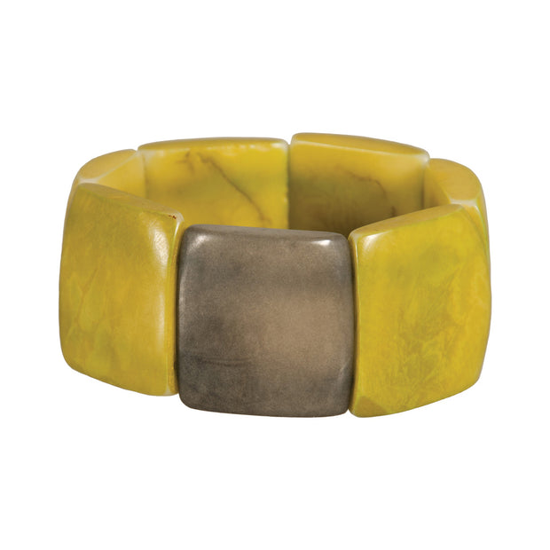 Tagua Accented Stretch Bracelet, Lime