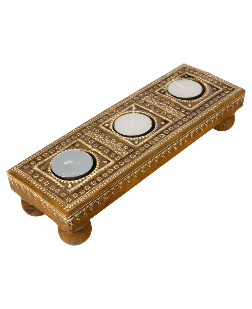 Hand Carved Wooden Indian Tealight Holder