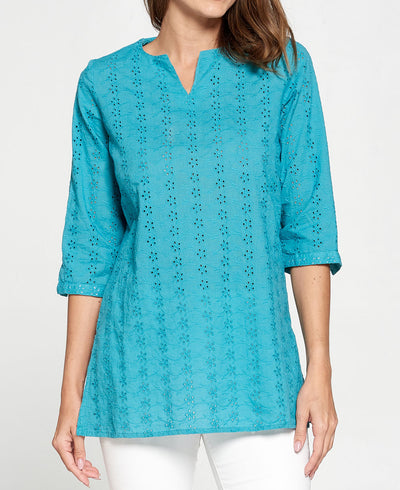 Turquoise Eyelet Cotton Tunic Shirt