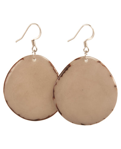 Tagua Chip Earrings, Soft Gray