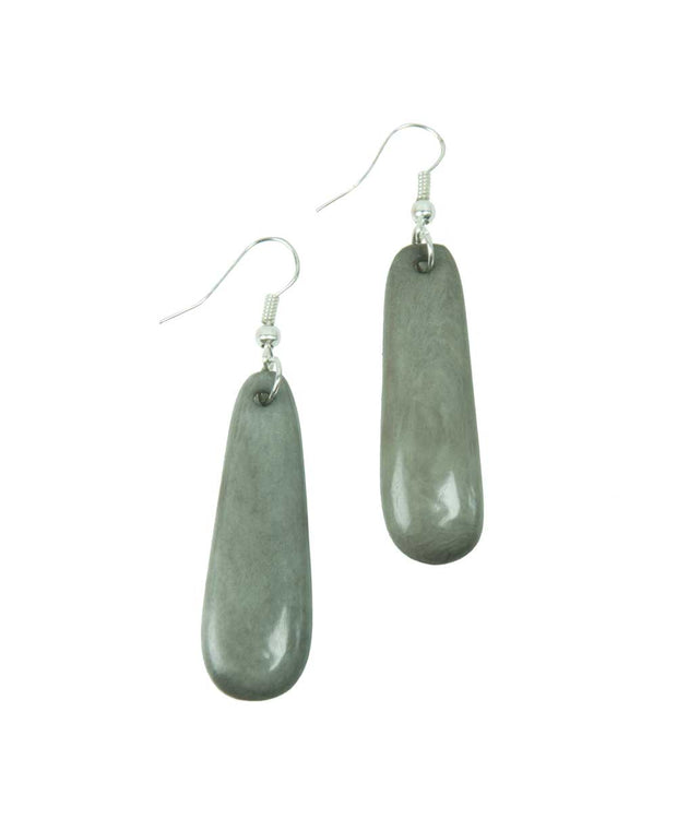 Moon Sliver Tagua Earrings, Soft Gray