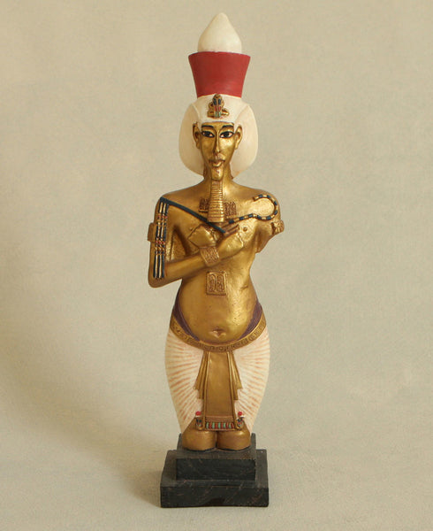 Vibrant Egyptian King Akhenaton Statue, 14 Inches