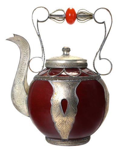 Moroccan Red Ceramic Decorative Teapot
