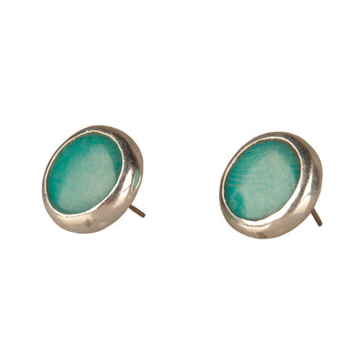 Tagua and Sterling Silver Stud Earrings, Aqua