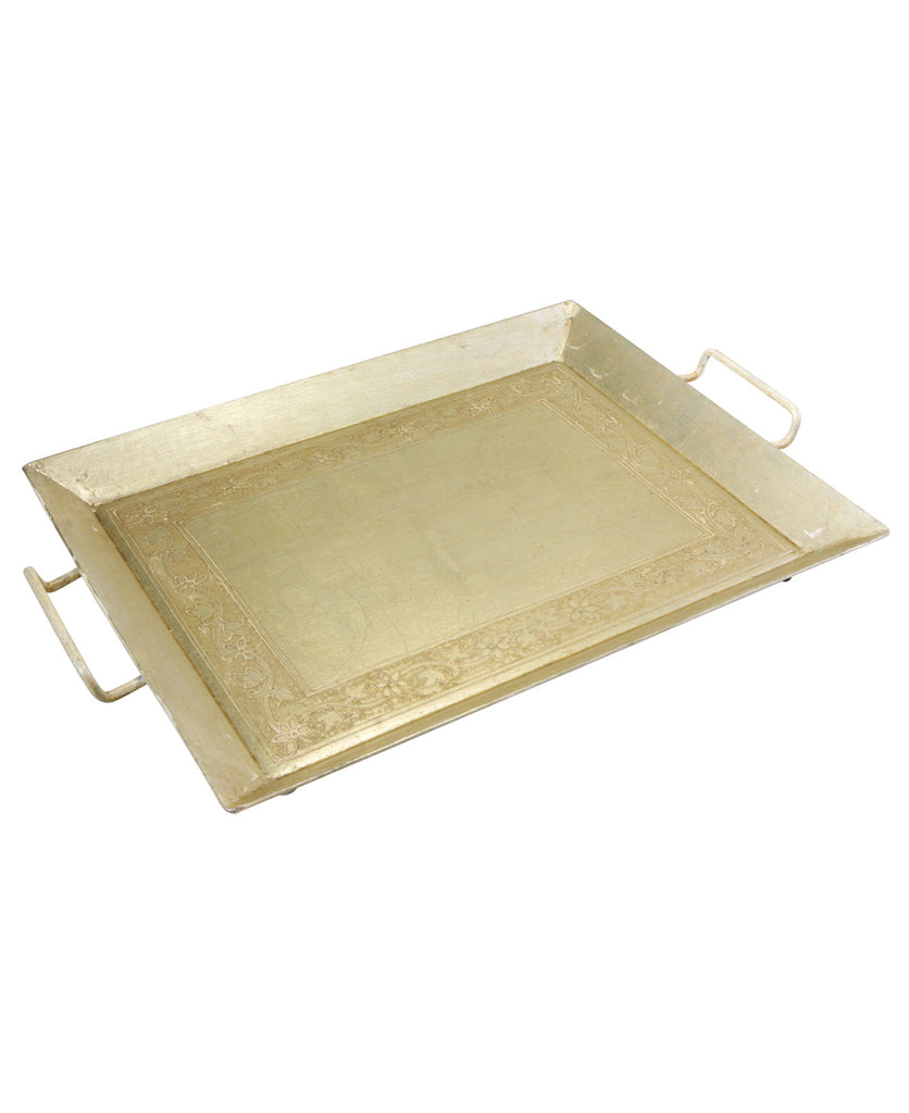 Floral Metallic Serving Tray in White Gold Color, India