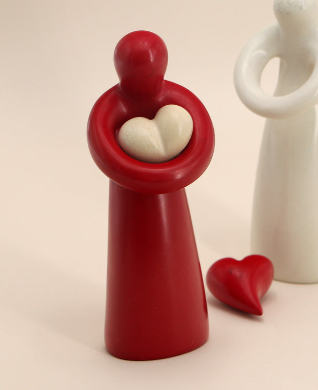 Soapstone Hugging Heart Sculpture in Red