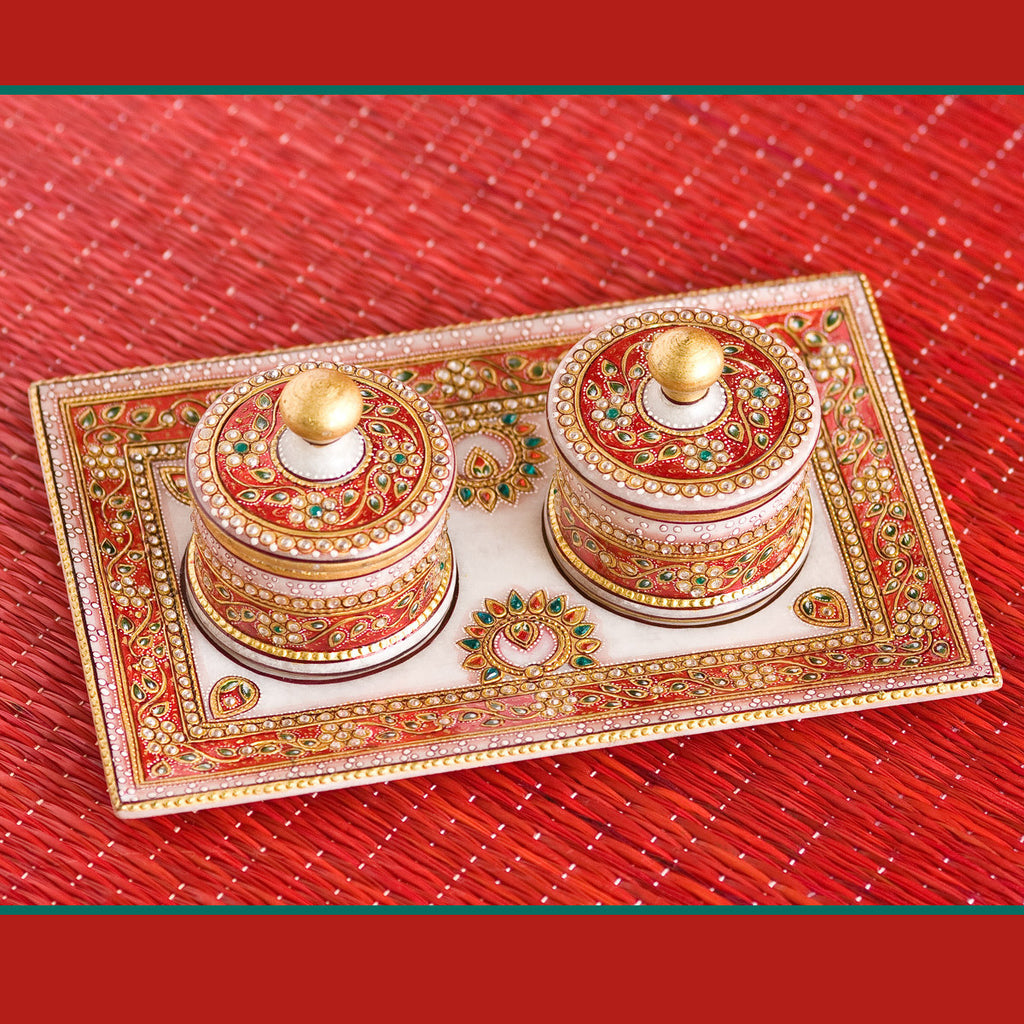 Rajasthan Royalty Hand Painted Marble Tray and Bowl Set