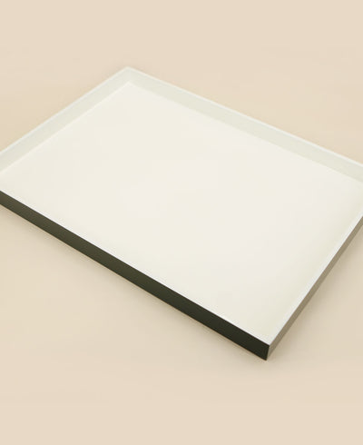 Contemporary White And Grey Minimalist Lacquer Tray, Vietnam