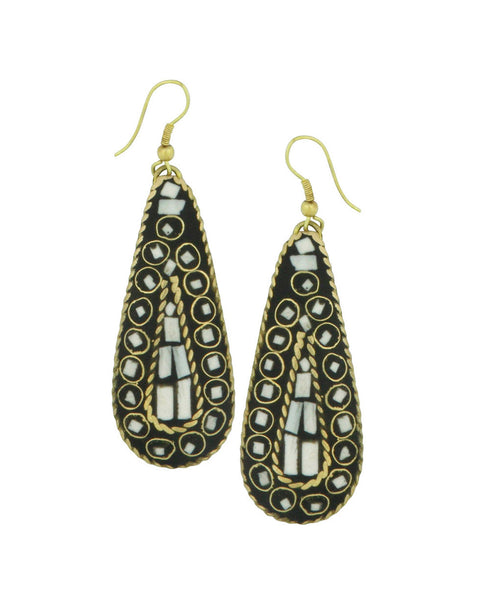 Indian Mosaic Teardop Earrings