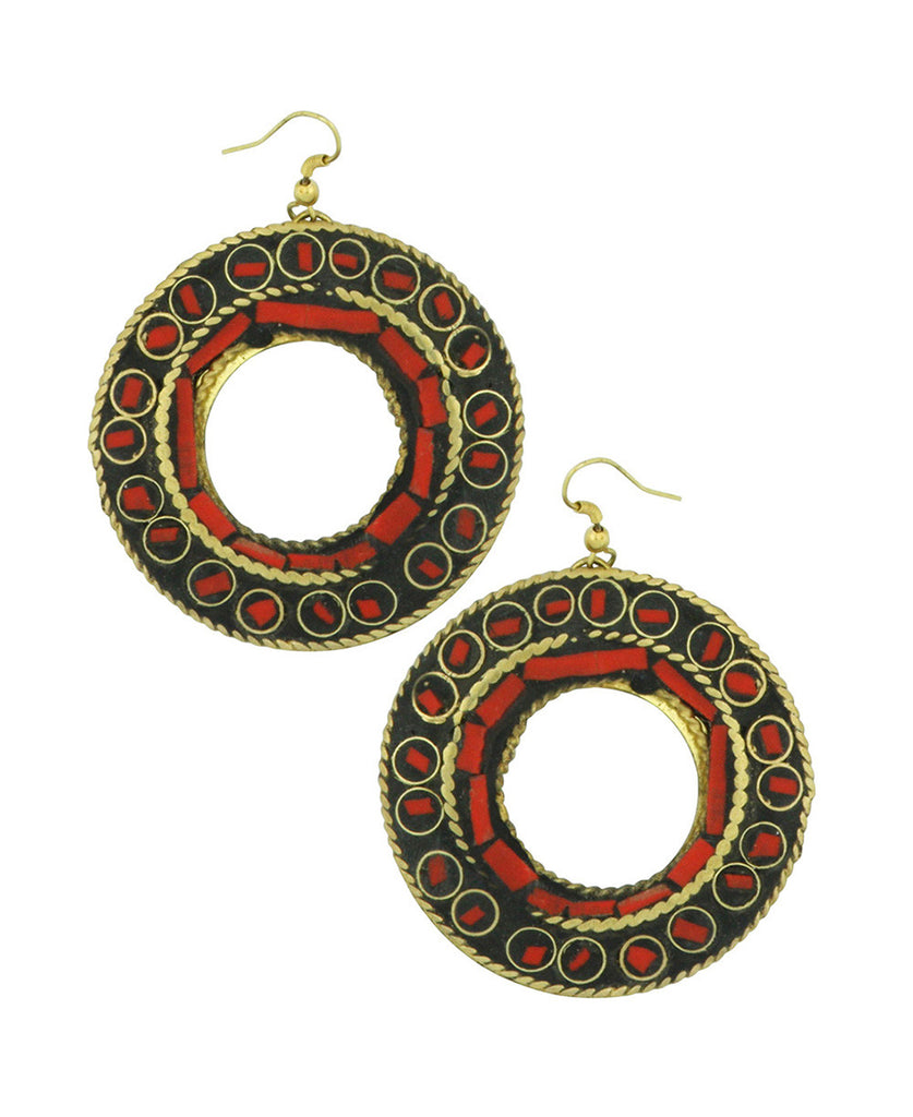 Vermillion Mosaic Brass and Coral Earrings, India
