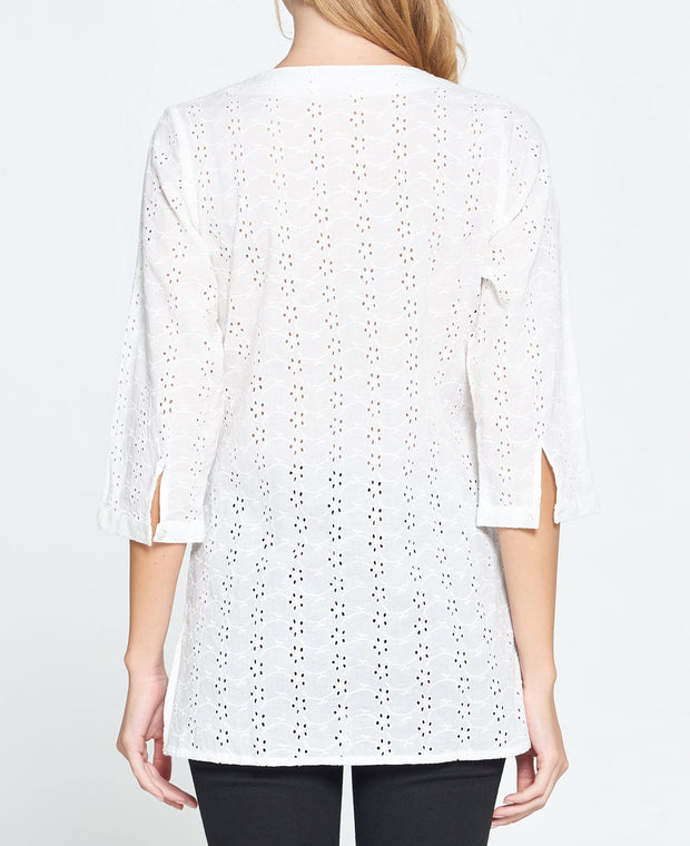 White embroidered eyelet cotton tunic