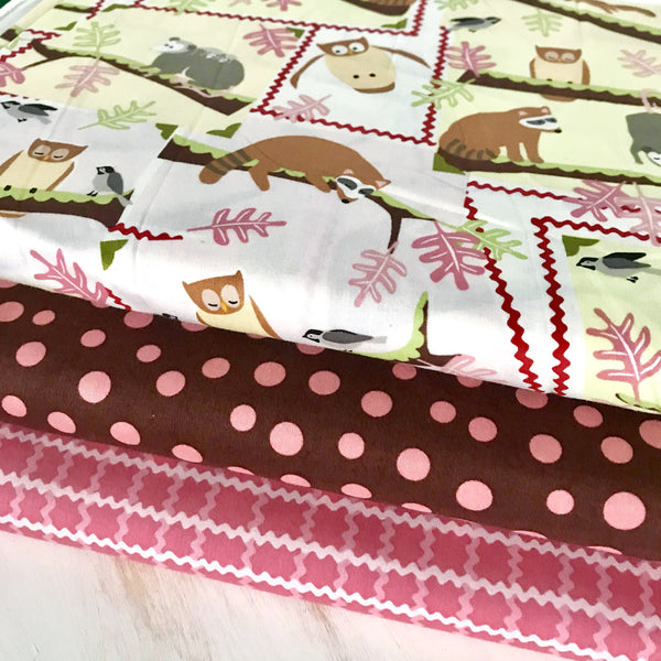 Half Yard Bundle of Pink Woodland