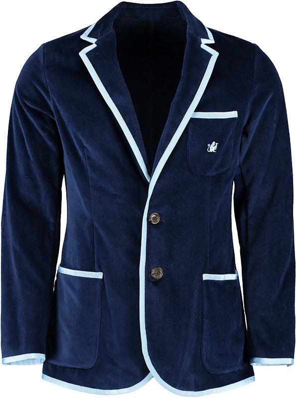Boys Navy Terry Cloth Toweling Blazer (available in 3 trim color options)