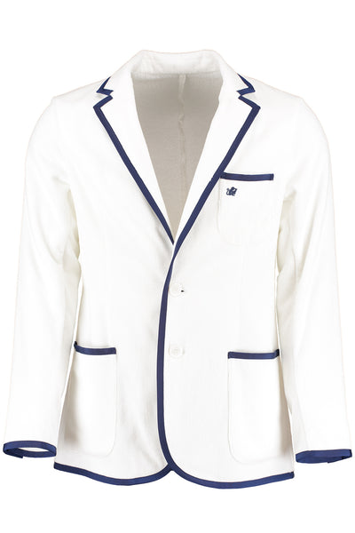 Boys White with Navy Trim Blazer