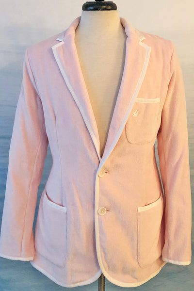 Men's Pink Terry Cloth Toweling Blazer with White Trim - Size 46 and 48 Only