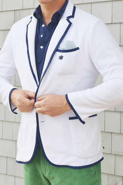 Men's White & Montauk Navy Terry Cloth Toweling Blazer