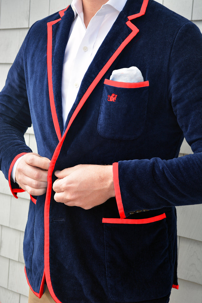 Men's Navy & Red Toweling Blazer